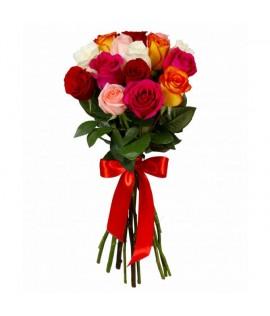 Փունջ 444 Քենիական միքս վարդեր 15 հատ, 50 սմ